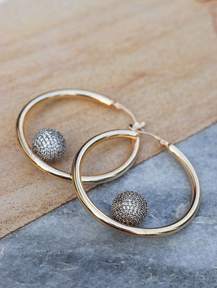 Gold-Silver Corona Hoop Earrings