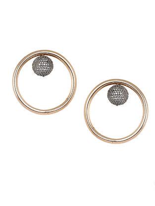 Gold-Silver Corona Pave Stud Earrings