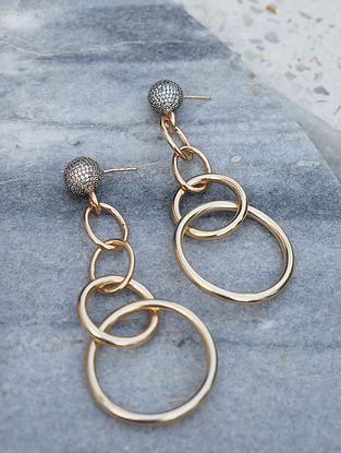 Gold-Silver Corona Link Earrings