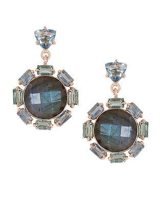 Blue Orb Topaz Drop Earrings