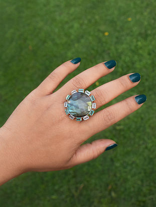 Blue Orb Statement Adjustable Ring