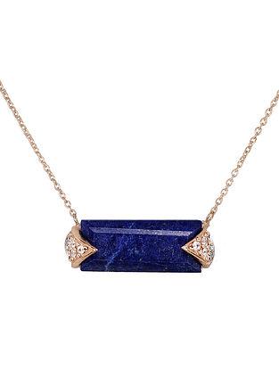 Blue Gold Tone Lazuli Demi Pendant Necklace