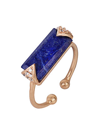 Blue Gold Tone Lazuli Oblong Demi Adjustable Ring
