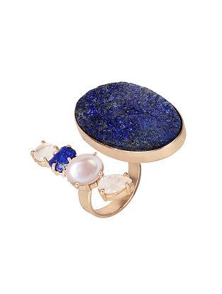 Blue-White Gold Tone Lazuli Double Finger Ring