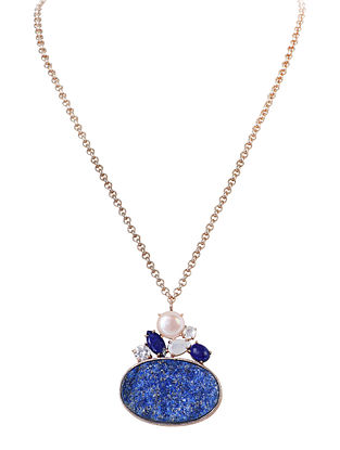 Blue-White Gold Tone Lazuli Statement Necklace