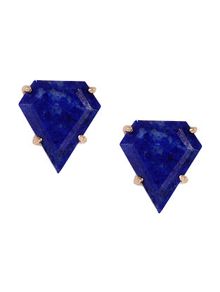 Blue Gold Tone Lazuli Pentagon Stud Earrings