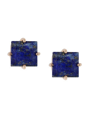 Blue Gold Tone Lazuli Delicate Square Stud Earrings