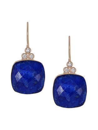 Blue Gold Tone Lazuli Laurel Drop Earrings