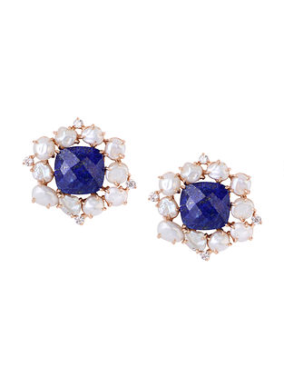 Blue-White Gold Tone Lazuli Statement Stud Earrings