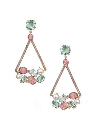 Pink-Blue Candy Cabana Triangular Drop Earrings