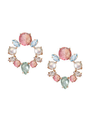 Pink-Blue Candy Cabana Wreath Stud Earrings