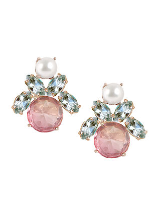 Pink-Blue Candy Cabana Delicate Stud Earrings