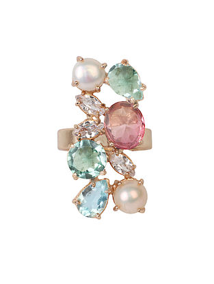 Pink-Blue Candy Cabana Multigem Ring