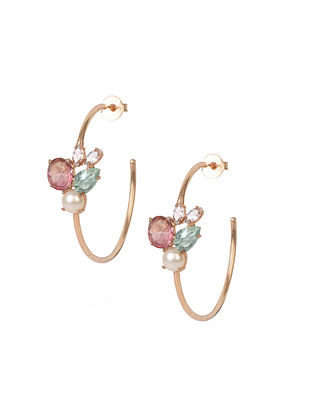 Pink-Blue Candy Cabana Multigem Demi Hoops