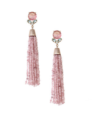Pink Candy Cabana Fall Tassel Earrings