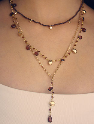 Wine Gold Plated Layered Necklace