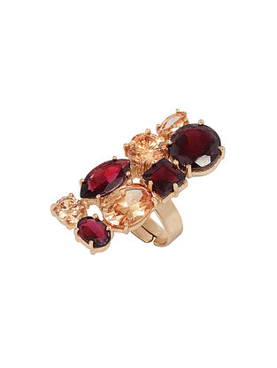 Wine Yellow Gold Plated Multigem Statement Ring