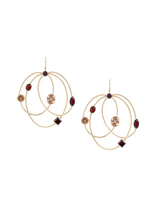 Wine Yellow Gold Plated Multigem Hoops