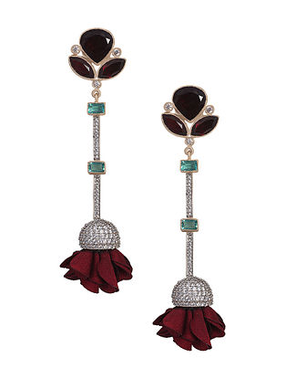 Garnet And Wine Gold Plated Suede Pod Earrings