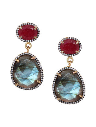 Wine Grey Gold Plated Labradorite And Ruby Corrundum Drop Earrings
