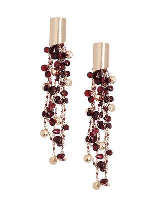 Wine Gold Plated Kaska Garnet Earrings