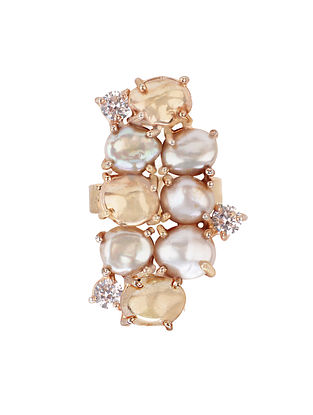 Gold Plated Aurous Ring with Pearls