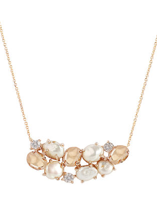 Gold Plated Aurous Necklace with Pearls