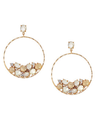 Gold Plated Aurous Hoop Earrings with Pearls