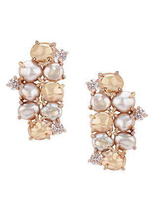 Gold Plated Aurous Stud Earrings with Pearls