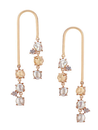 Gold Plated Aurous Earrings with Pearls