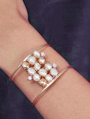 Gold Plated Aurous Cuff with Pearls