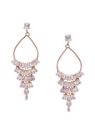 White Baguette Zirconia Chandelier Earrings