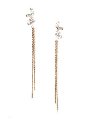 White Baguette Zirconia Glamrock Tassel Earrings