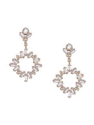 White Baguette Zirconia Glamrock Drop Earrings