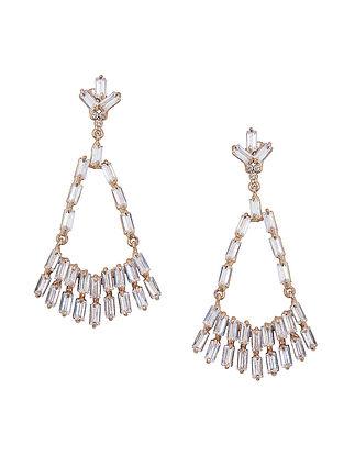 White Baguette Zirconia Glamrock Chandelier Earrings