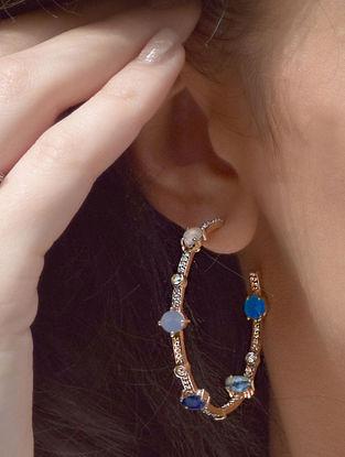 Multicolor Cerulean Pave Gemstone Hoops