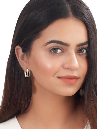 Gold Tone Pave Zirconia Double Hoop Earrings