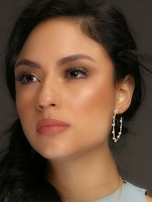 Gold Tone Glamrock Pave Hoops