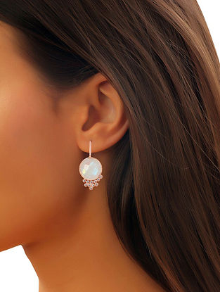White Moonstone Dew Drops Mist Earrings