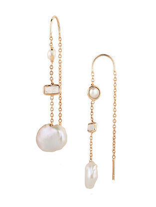White Coin Pearl And Moonstone Station Earrings