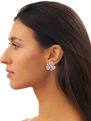 White Moonstone Trio Studs