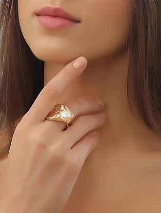Gold Tone Pearl Bianca Mist Ring