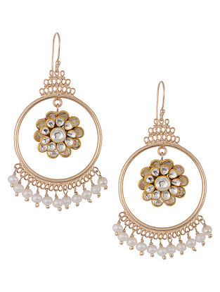 Crystal and Fresh Water Pearls Gold-plated Brass Earrings with Pachi Work