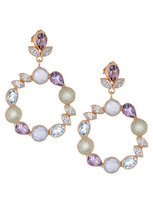 Amethyst and Blue Chalcedony Gold-plated Brass Earrings