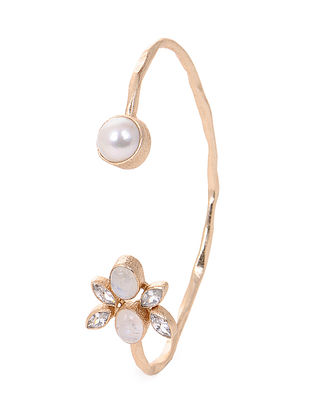 Moonstone and Fresh Water Pearl Gold-plated Brass Cuff
