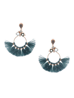 Blue Topaz and Labradorite Gold-plated Brass Earrings with Silk Tassels