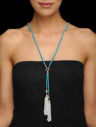 Turquoise and Moonstone Gold-plated Brass Necklace