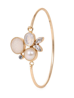 Moonstone and Pearl Gold-plated Brass Bangle (Bangle Size -2/4)