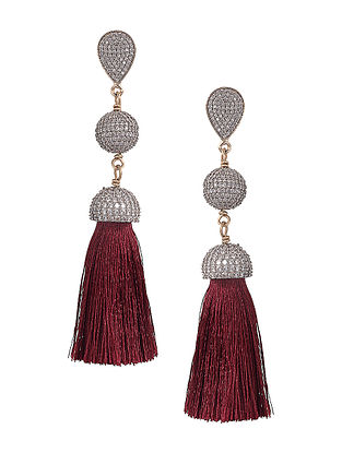 Wine Gold-plated Brass Earrings with Tassels
