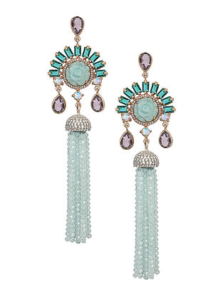 Green-Purple Amazonite and Hydro Amethyst Gold-plated Brass Earrings